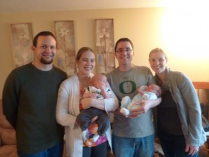 The babies and parents together. Elias was off playing sword fights with Uncle Scott so he is not pictured.